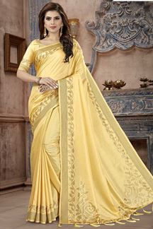 Picture of Light Yellow Colored Party  Wear Manipuri Silk Saree