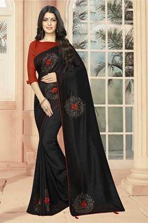 Picture of Gorgeous Black Stone Work Designer Saree