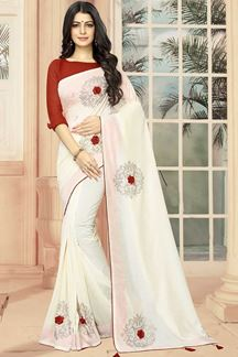Picture of Pristine Off-White Designer Saree