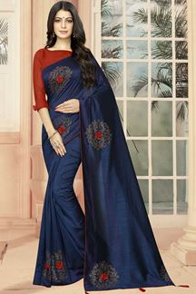 Picture of Navy Blue Color Wedding Wear Designer Saree