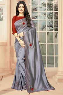 Picture of Grey Colored Wedding Wear Saree