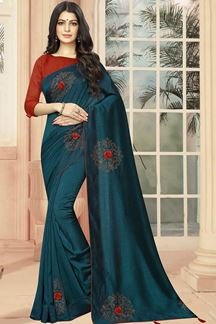 Picture of Peacock Blue Color Party Wear Designer Style Saree
