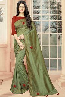 Picture of Dusty Pista Colored Designer Saree