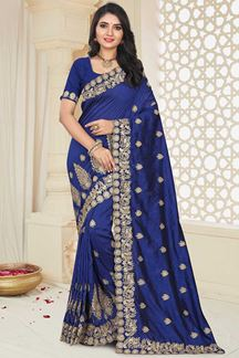 Picture of Navy Blue Color PartyWear Mayo Silk Designer Saree