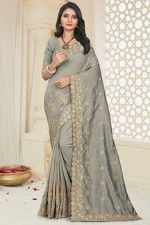 Picture of Charming Grey Colored Party Wear Mayo Silk Saree