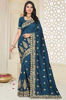 Picture of Desirable Peacock Blue Colored Party Wear Mayo Silk Saree