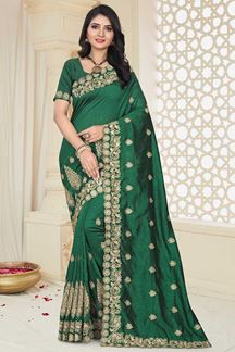 Picture of Gleaming Pale Green Colored Mayo Silk Designer Saree