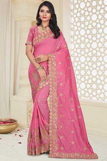 Picture of Flamboyant Gajari Colored Wedding Wear Mysore Silk Saree