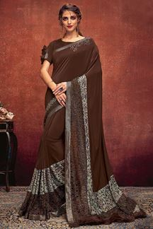 Picture of Brown Colored Patywear Lycra Designer Saree