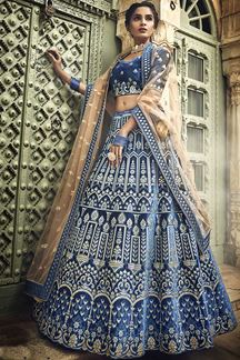 Picture of Exuberant Blue Color Bridal Designer Lehenga Choli