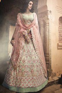 Picture of Pista Green Color Bridal Lehenga choli Set