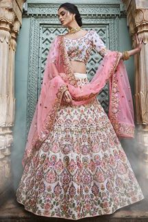 Picture of Cream Colored Embroidered Georgette Lehenga Choli