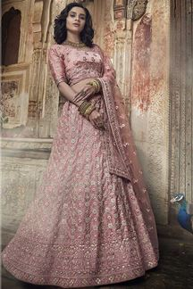 Picture of Salmon Pink Heavy Embroidery Lehenga Choli