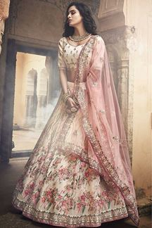 Picture of Beautiful Off White Bridal Lehenga Choli