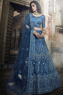 Picture of Kerosene Blue New Color Bridal Lehenga Choli