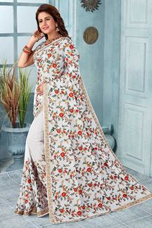 Picture of White Color Party Wear Georgette Designer Saree