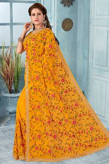 Picture of Mustard Yellow Color Party Wear Designer Saree