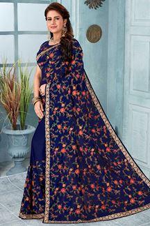 Picture of Navy Blue Color Designer Saree
