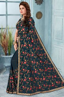 Picture of Grey Color Georgette Designer  Saree
