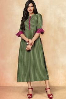 Picture of Rich Green & Pink Color Casual Wear Kurti