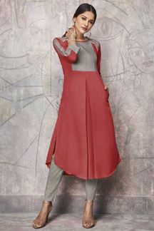 Picture of Desirable Pink & Grey Colored Casual Wear Cotton Kurti