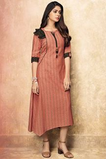 Picture of Cotton Printed Peach & Black Color Casual Kurti