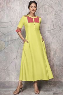Picture of Modernistic Fancy Cotton Lemon Yellow & Pink Party Wear Kurti