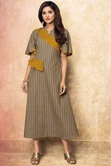 Picture of Grey & Yellow Color Print Designer Kurti