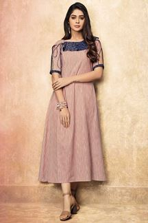 Picture of Glossy Pink & Blue Color Printed Casual  Wear Kurti