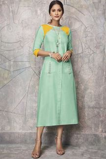 Picture of Green Color Party Wear Kurti