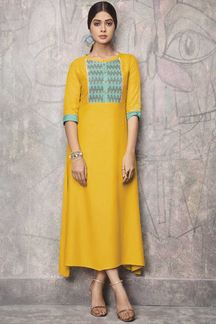 Picture of Cotton Party Wear Kurti In Yellow