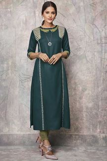 Picture of Enticing Green ColorParty Wear Kurti