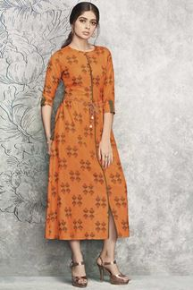 Picture of Trendy Orange Colored Party wear Rayon Cotton Fancy Kurti