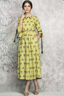 Picture of Fantastic Yellow Colored Party wear Printed Rayon Kurti
