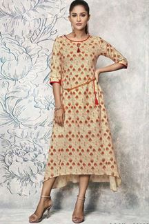 Picture of Flaunt Beige Colored Partywear Printed Kurti