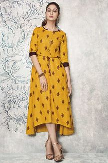 Picture of Jazzy Mustard Yellow Colored Casual Waer Kurti