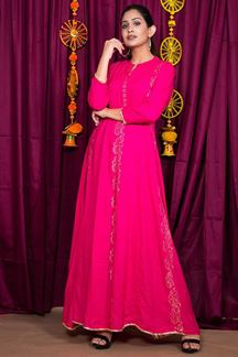 Picture of Fuchsia Color Block Print Gown