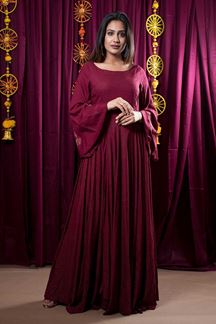 Picture of Beautiful Burgundy Color Rayon Gown