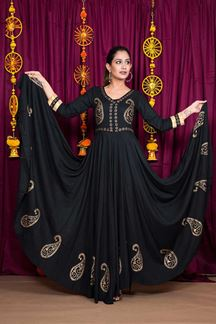Picture of Black Color Party Wear  Rayon Gown