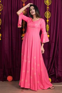 Picture of Pink Color Party Wear Gown