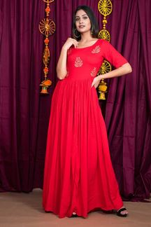 Picture of Hypnotic Red Colored Party Wear Gown