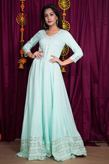 Picture of Excellent Ice Blue Colored Party Wear Gown