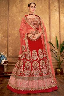 Picture of Awesome Red Designer lehenga choli set