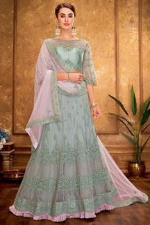 Picture of Luxurious Pastel blue & Pink Designer Lehenga Choli