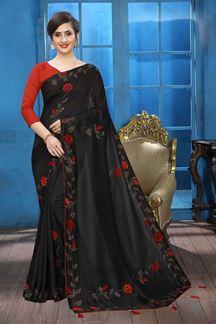 Picture of Black Colored Designer Two-tone Silk Saree
