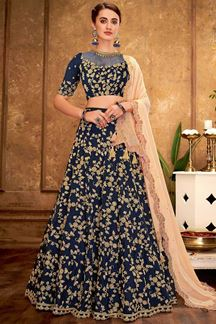 Picture of Vibrant Blue & Peach designer lehenga choli set