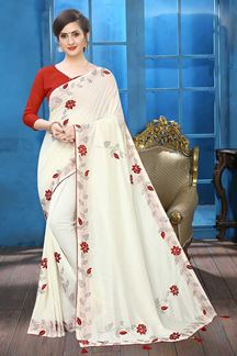 Picture of Off-White Colored Designer Two-tone Silk Saree