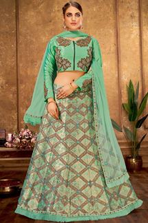 Picture of Beautiful Blue Colored Designer Embroidered Silk Lehenga Choli