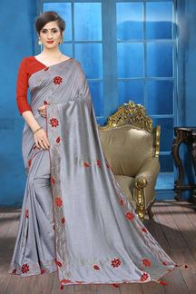 Picture of Grey Colored Designer Two-tone Silk Saree