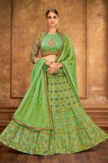 Picture of Surpassing Green Colored Designer Embroidered Raw Silk Lehenga